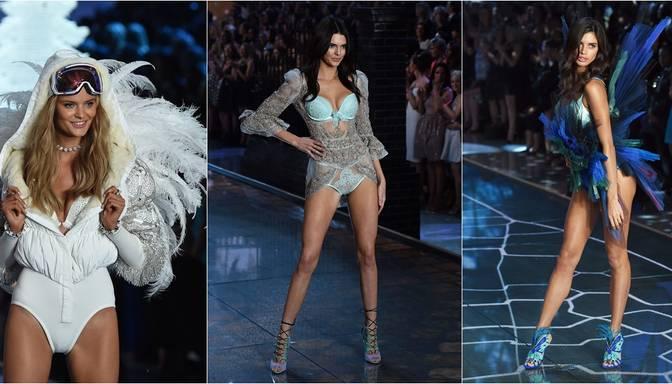 Victoria's Secret modeles apžilbina, parādot sevi uz mēles