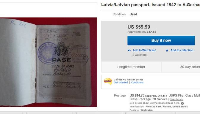 Nameja gredzens un 1942. gada pase: ko latvieši tirgo eBay