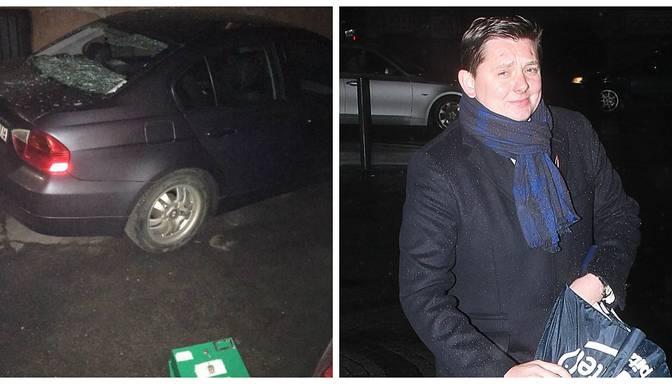 FOTO: ļaundari naktī izdemolē Artusa Kaimiņa BMW