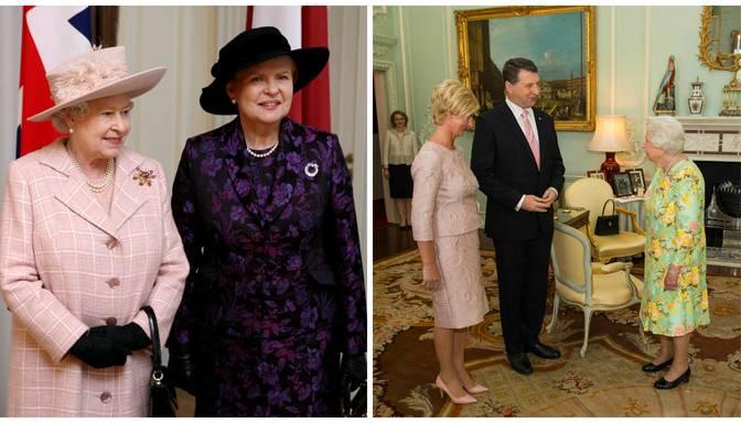 FOTO: kādos tērpos Latvijas dāmas tiekas ar Anglijas karalieni Elizabeti II