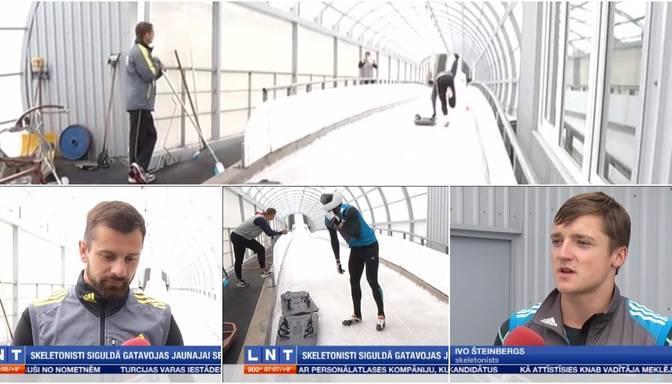 VIDEO: Latvijas izlases skeletonisti sāk treniņus Siguldas starta estakādē