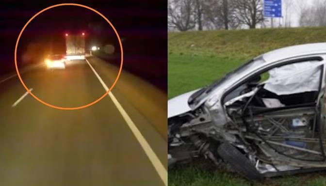 """Baisa avārija Bauskas pusē: pārgalvīgs manevrs teju iespiež automašīnu starp divām """"fūrēm"""""""