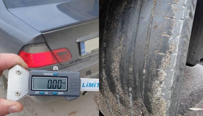 """Policisti Liepājas pusē pieķer divus """"BMW"""" šoferus, kuri pārvietojas ar """"plikām"""" riepām"""