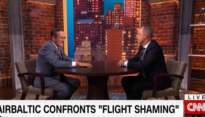 """VIDEO: """"airBaltic"""" vadītājs Gauss uzstājas CNN"""