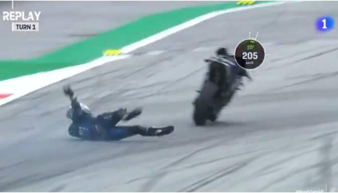 """""""Moto GP"""" braucējam pazūd bremzes, viņš nolec no 215 km/h ātrumā braucoša motocikla"""