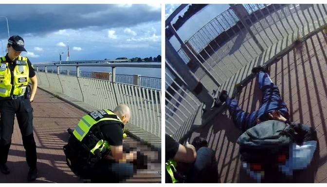 Veikala apzadzēju vajāšana Rīgas centrā: pēc aculiecinieka sniegtās informācijas policija aiztur divus tipiņus