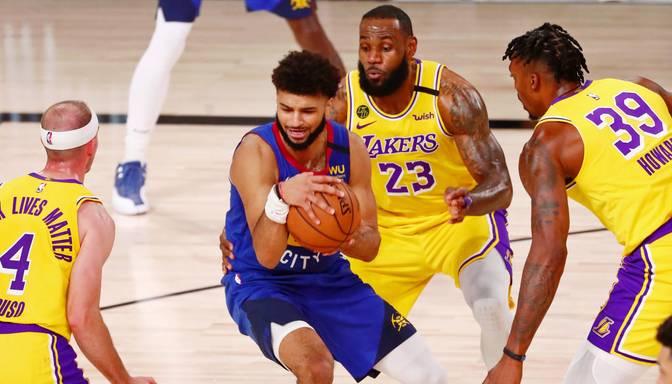 """""""Lakers"""" pārspēj """"Nuggets"""" Rietumu konferences pirmajā mačā"""