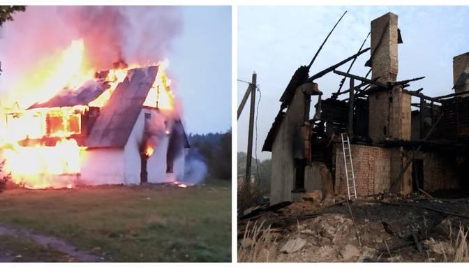Kaimiņi dzirdēja sprādzienu: Džūkstes pusē pamatīgās liesmās nodeg privātmāja