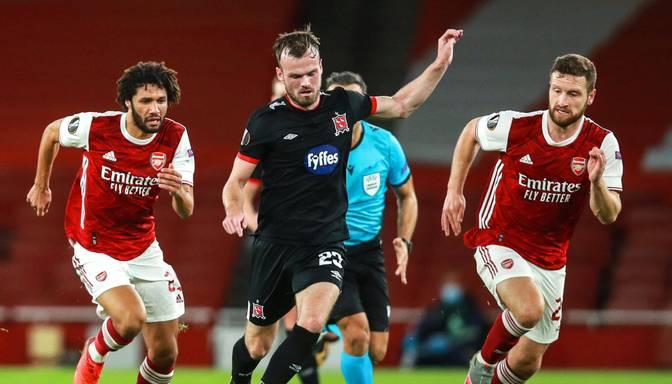 """Unikāls rekords – """"Dundalk"""" futbolisti Eiropas līgas mačā ar """"Arsenal"""" ne reizi nepārkāpj noteikumus"""