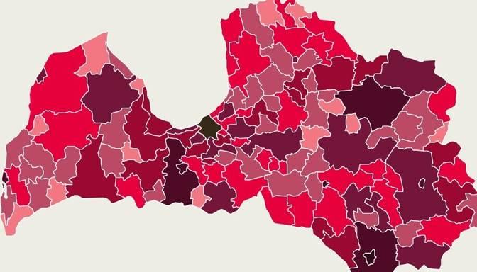 Covid-19 izplatības karte: vairums atklāto saslimšanas gadījumu reģistrēti Rīgā, Jelgavā un Olaines novadā