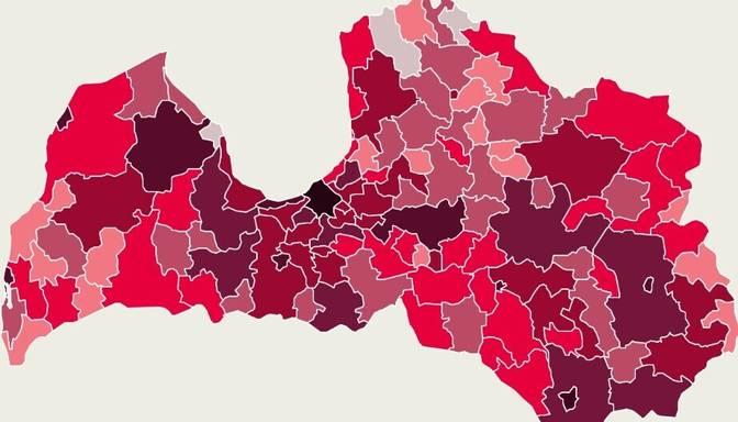 Covid-19 izplatības karte: vairāk nekā trešdaļa vakar atklāto saslimšanas gadījumu reģistrēti Rīgā