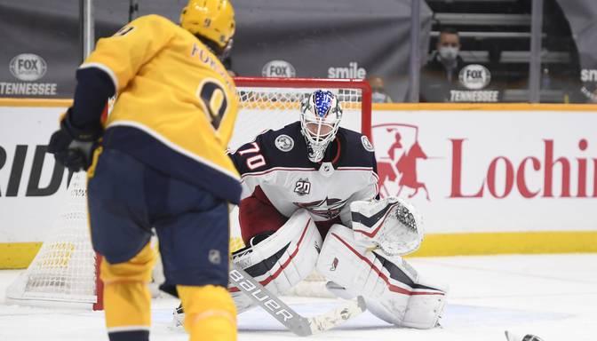 """""""Blue Jackets"""" ar Korpisalo vārtos NHL sezonas pirmajā mačā zaudē """"Predators"""""""