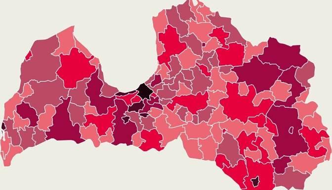 Covid-19 izplatības karte: vairums otrdien atklāto gadījumu reģistrēti Rīgā, Daugavpilī un Aizputes novadā