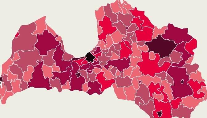 Covid-19 izplatības karte: otrdien 35% inficēto reģistrēti Rīgā
