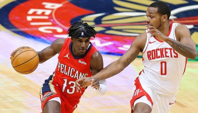 """Ņūorleānas """"Pelicans"""" pārliecinoši apspēlē Kuruca """"Rockets"""""""