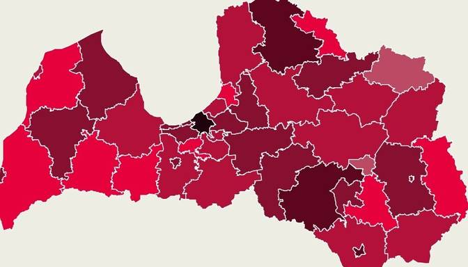 Covid-19 izplatības karte: trešdaļa jaunatklāto inficēšanās gadījumu konstatēts Rīgā