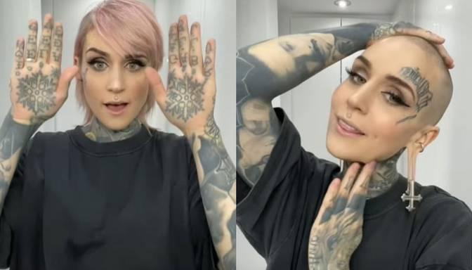 """Latviešu tetovētā modele Monami Frost piepilda senu sapni un noskuj matus """"uz nullīti"""""""
